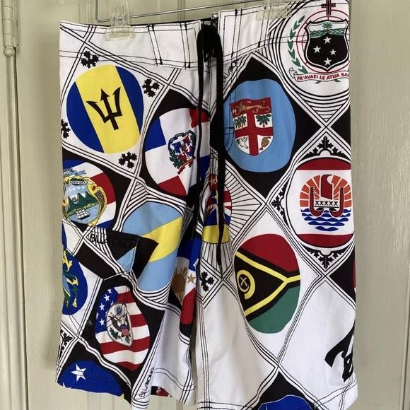 Billabong Boardshorts Size 30 World Flags Men's
